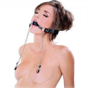 "BDSM Комплект за лице - топка за уста и щипки за зърна ""FETISH PIPEDREAM"""