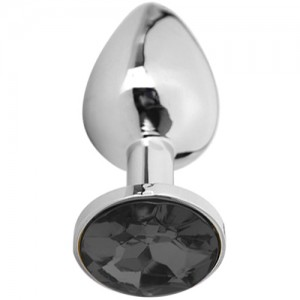 "Метално дилдо Butt Plug ""SILVER CRYSTAL BLACK"" 9 см. Размер-L"