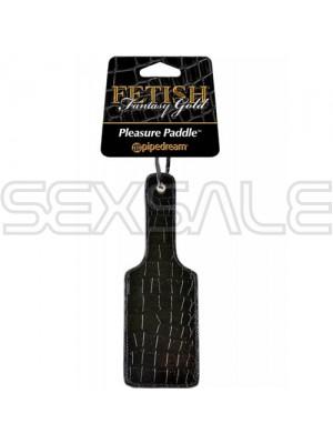 "BDSM Плескалка с кожена облицовка ""GOLD PLEASURE PADDLE"" 27 см."