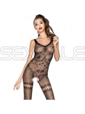 """Секси цяло боди с отвор и флорални мотиви """"PASSION BS045 BLACK"""""""
