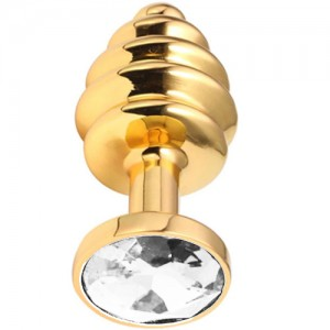 "Метално дилдо Butt Plug с оребрение ""GOLD HONEY CLEAR"" 9 см. Размер - L"