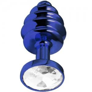 """Метално дилдо Butt Plug с оребрение """"BLUE HONEY CRYSTAL"""" 7 см. Размер - S"""