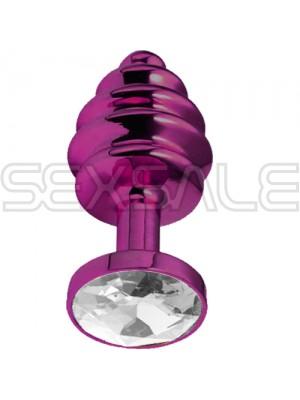 "Метално дилдо Butt Plug с оребрение ""PURPLE HONEY CRYSTAL"" 7 см. Размер - S"