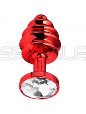 "Метално дилдо Butt Plug с оребрение ""RED HONEY CRYSTAL"" 7 см. Размер - S"
