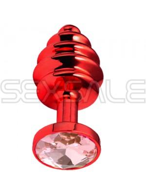 "Метално дилдо Butt Plug с оребрение ""RED HONEY PINK"" 7 см. Размер - S"