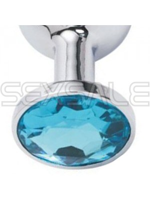 "Метално дилдо Butt Plug ""SILVER CRYSTAL AQUA BLUE"" 8 см."