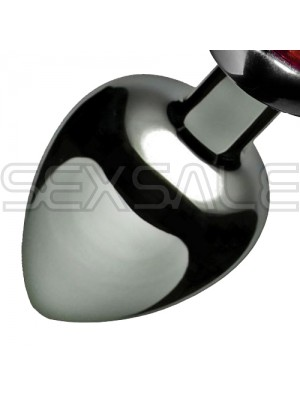"Метално дилдо Butt Plug ""SILVER HEART RED"" 9 см. Размер-L"