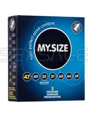 """Презервативи """"MY SIZE"""" 3 бр. 47 мм. за пениси 9.5 - 10 см."""