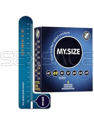 """Презервативи """"MY SIZE"""" 3 бр. 49 мм. за пениси 10 - 11 см."""