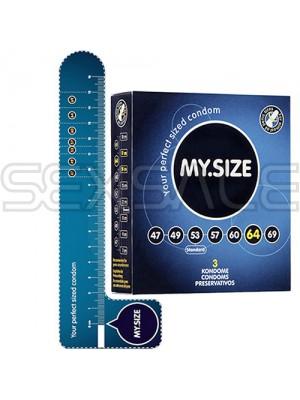 """Презервативи """"MY SIZE"""" 3 бр. 69 мм. за пениси 14 - 15 см."""