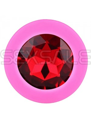 "Силиконов Butt Plug с бижутерия ""X FUN PINKED DARK RED"" 10 см. Размер - L"
