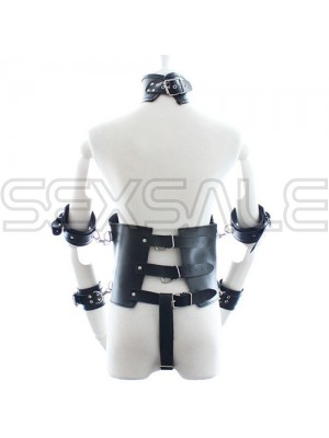 """Кожен BDSM корсет с белезници за ръце """"FAUX BLACK"""" Унисекс"""