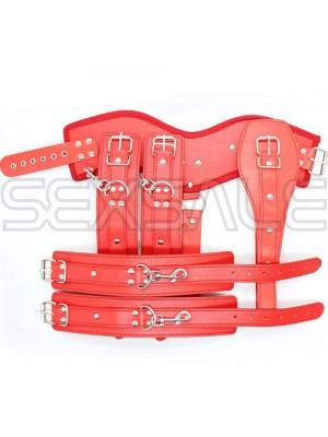 """Кожен BDSM корсет с белезници за ръце """"FAUX RED"""" Унисекс"""
