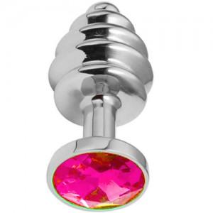 "Метално дилдо Butt Plug с оребрение ""SILVER HONEY PINK"" 8 см. Размер - M"